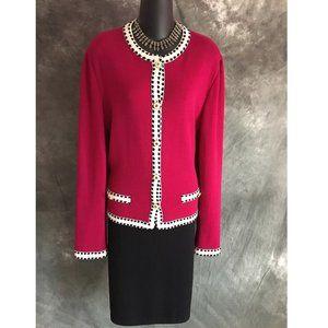 st john collection knit pink black jacket size 12